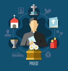 Priest concept set vector
