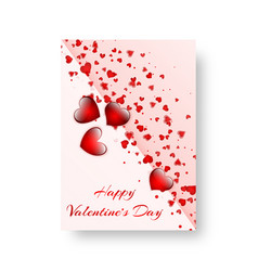 Rectangular pamphlet with scarlet hearts vector