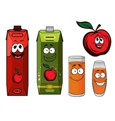 Red apple juice cartoon characters vector