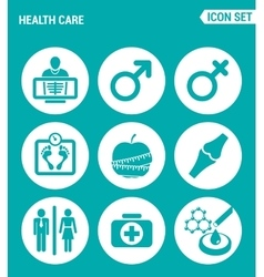 set of round icons white Health Care rengen woman vector image