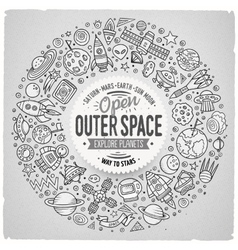 Set of space cartoon doodle objects symbols and vector