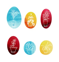 Set of water color houseplants icons vector