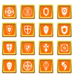 shields set icons set orange vector image vector image