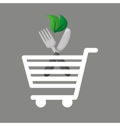 Shopping cart food vegetarian vector