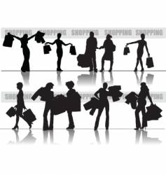 Shopping girls silhouettes vector