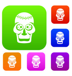 skull set color collection vector image vector image