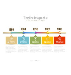 Timeline infographic with diagrams data options vector