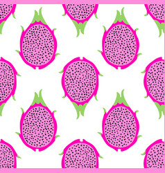 Tropical exotic dragon fruit seamless vector