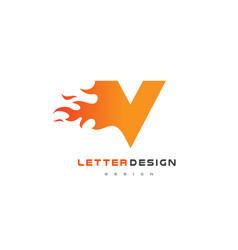 v letter flame logo design fire logo lettering vector image