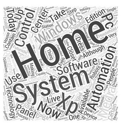 Windows xp home automation word cloud concept vector