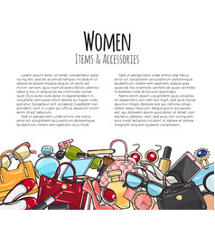 Women items and accessories colourful objects vector