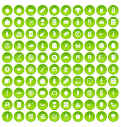 100 lunch icons set green circle vector