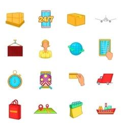 Logistics icons set cartoon style vector