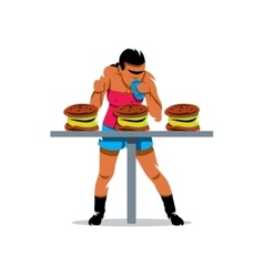 Athlete on fast food speed eating cartoon vector