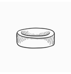 Hockey puck sketch icon vector