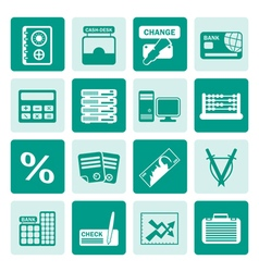 One tone bank business finance and office icons vector