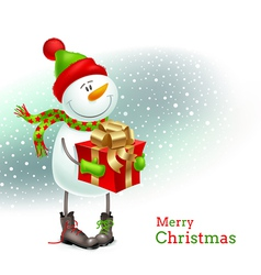 Smiling snowman with gift vector image