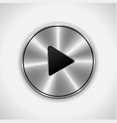 Realistic play metal button eps10 isolated vector