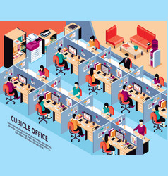 Office workplace isometric vector