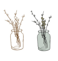 Pussy-willow in the bank vector