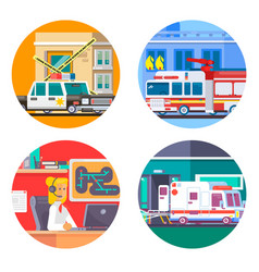 Emergency call icons set flat vector