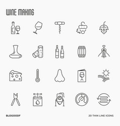 Thin line wine and wine making icons vector