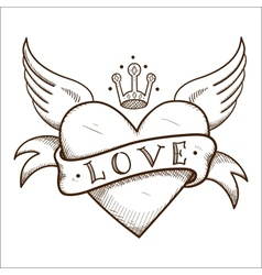 Heart with banner and crown vector
