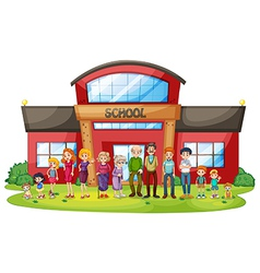 A big family in front of the school building vector
