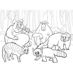 Animals group cartoon coloring page vector