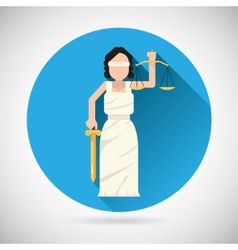 Themis femida character with scales and sword icon vector