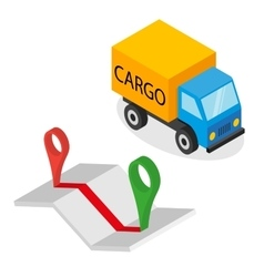 Delivery cargo and map with pins vector