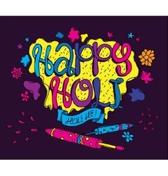 Holi festival greeting card hand drawn vector