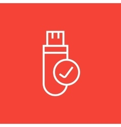 Usb flash drive line icon vector