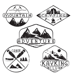 Kayaking camping climbing and adventure vintage vector