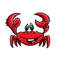 Smiling cartoon ocean red crab character vector image