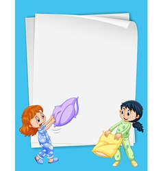 Paper design with two girls in pajamas vector