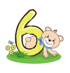 The number six and cheerful bear vector