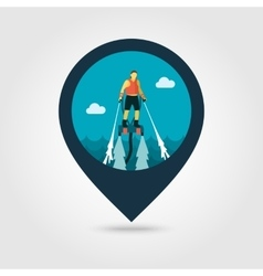 Flyboard pin map icon summer vacation vector