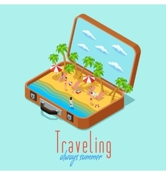 Vacation travel isometric retro style poster vector