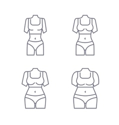Collection of female body types set of thick and vector