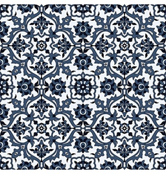 Arabesque seamless pattern in blue and white vector image vector image