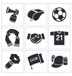 Attributes soccer fan icon set vector
