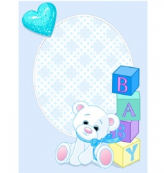 Baby blue arrival card vector