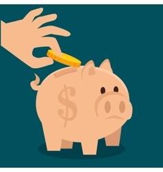 Cartoon piggy money earnings design isolated vector