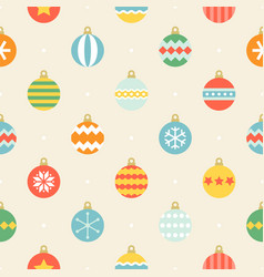 christmas ball seamless pattern in vintage style vector image vector image
