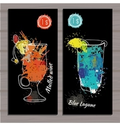 Cocktail set with price on chalk board Template vector image