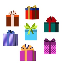 Colorful wrapped gift boxes christmas vector