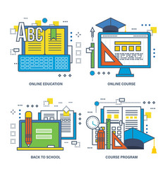 Course program online education back to school vector