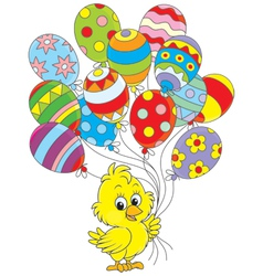 Easter Chick with balloons vector image vector image