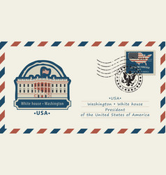 envelope with white house and american flag vector image vector image